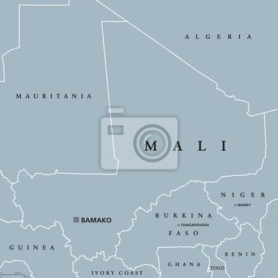 Mapa Polityczna Mali Z Kapitalem Bamako Granicami