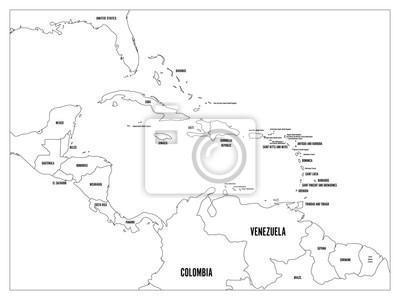 Mapa Polityczna Panstwa Ameryki Srodkowej I Karaibow Czarne