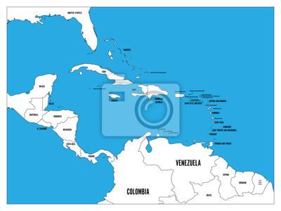 Mapa Polityczna Panstwa Ameryki Srodkowej I Karaibow Czarny