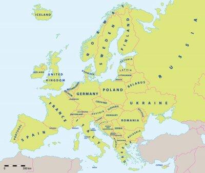 Fototapeta Mapa polityczna w Europie w 2015 roku w wytwórni i skali mapy. Nowe granice Ukrainy i Rosji na Krymie. Wszystkie dane są w warstwach na łatwe edytowanie map wektorowych.