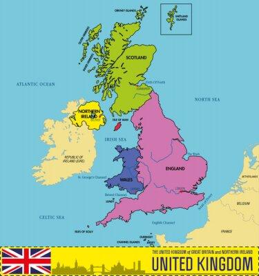 Mapa Polityczna Wielkiej Brytanii Z Regionami I Ich Stolicami