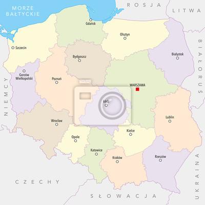 Mapa Polski Z Miast Wojewodztw Polskie Nazwy Fototapeta