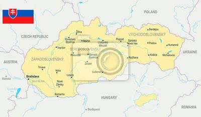 Mapa Slowacji Szczegolowe Ilustracji Wektorowych Fototapeta