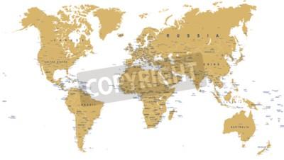 Fototapeta Mapa świata - granice, kraje, miasta i globusy - ilustracja
