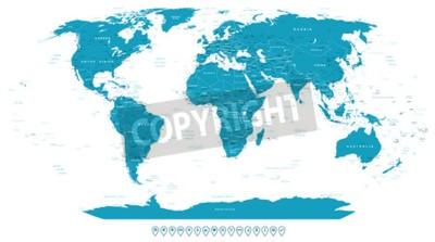 Fototapeta Mapa świata i ikony nawigacyjne - ilustracji.