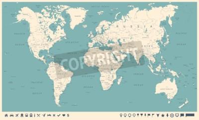 Fototapeta Mapa świata i markerów - szczegółowe wektorowej