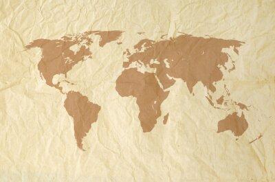 Fototapeta Mapa świata na vintage tle tekstury papieru Yallow