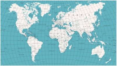 Fototapeta Mapa świata Polityczny Vintage Vector