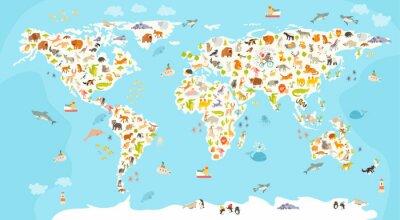 Fototapeta Mapa świata ssakiem. Piękny pogodny ilustracji wektorowych kolorowe dla dzieci i dzieci. Przedszkolak, dziecko, kontynenty, oceany, ciągnione, Ziemia