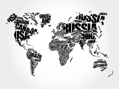 Fototapeta Mapa świata w Typografii Word chmura koncepcji, nazwy krajów