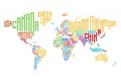 Fototapeta Mapa świata wykonane z nazwy kraju i typograficznych