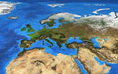 Fototapeta Mapa świata wysokiej rozdzielczości koncentruje się na Europie