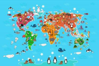Fototapeta Mapa świata ze zwierzętami. Małpa i jeż, niedźwiedź i kangura, zając Wilk panda i pingwinów i papug. Zwierzęta Mapa świata ilustracji wektorowych w stylu kreskówki