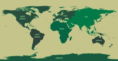 Fototapeta Mapa świata zielony z Kontynent Names