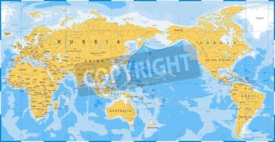 Fototapeta Mapa świata żółty niebieski, Azja w wektor centrum.