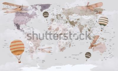 Fototapeta Mapa świata zwierząt do projektowania tapet dla dzieci