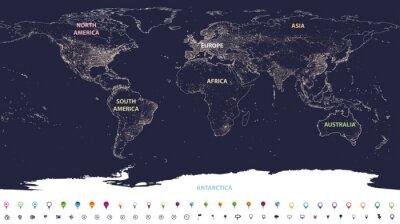 Fototapeta mapa światowych świateł miasta z oznaczonymi kontynentami w różnych kolorach i ikonach lokalizacji