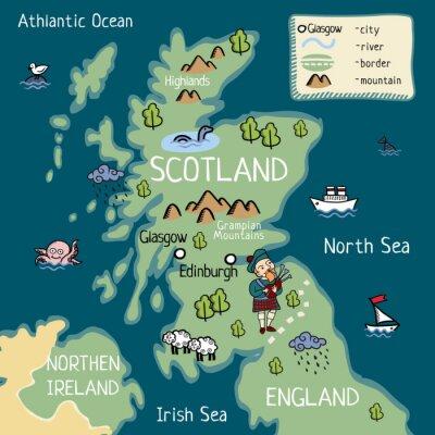 Mapa Szkocji Fototapeta Fototapety Turystyka Autobus Brytania