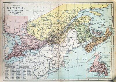 Fototapeta Mapa wschodnich prowincjach Kanady