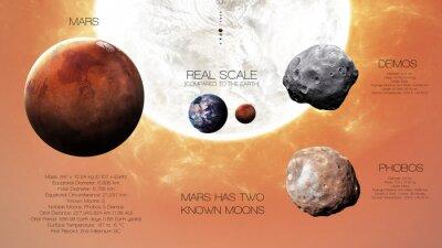 Fototapeta Mars - Wysoka rozdzielczość infografiki o planecie Układu Słonecznego i jego księżyców. Wszystkie planety dostępne. Ten obraz elementy dostarczone przez NASA