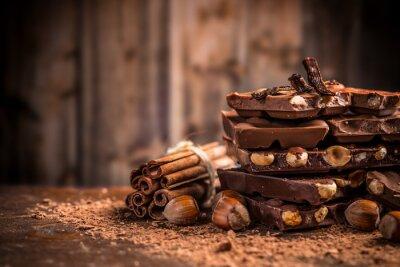 Fototapeta Martwa natura połamanych czekolady