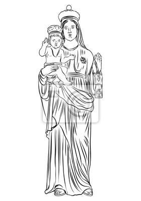 Fototapeta Matka Boska Z Jezusem Chrystusem W Rękach Dziecka Matka Boga