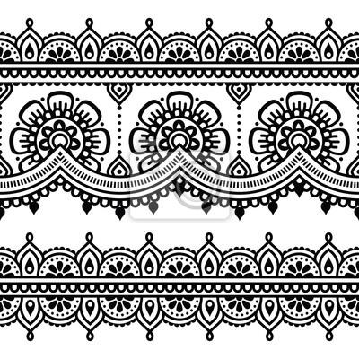 Mehndi Henna Tatuaż Wzór Bez Szwu Indyjskich Fototapeta