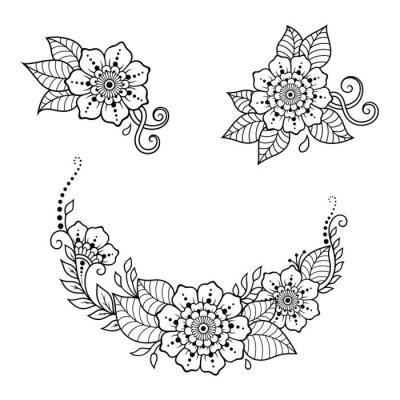 Fototapeta Mehndi Kwiat Wzór Do Rysowania Henny I Tatuaż Dekoracja W Etnicznym