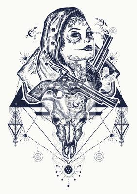Fototapeta Meksykańska Sztuka Tatuażu I T Shirtów Dziki Zachód Kobieta