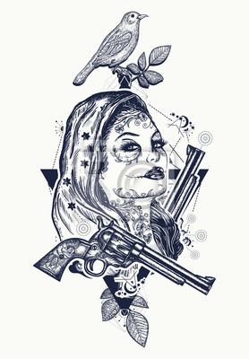 Fototapeta Meksykańska Sztuka Tatuażu I T Shirtów Tatuaż Dziki Zachód Kobieta