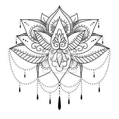 Mendi Mehendi Tatuaż Dla Kobiet Kwiat Lotosu Ilustracja Wektora