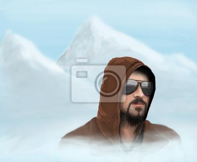 Fototapeta Mężczyzna w okularach rysunkowych