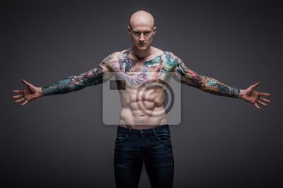 fcfa006d58dd79 Mężczyzna z tatuażem Fototapeta • Fototapety męskość, facet, mięsień ...