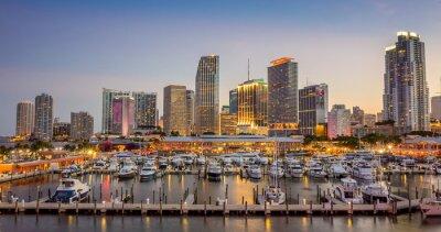 Fototapeta Miasta Miami skyline panorama o zmierzchu