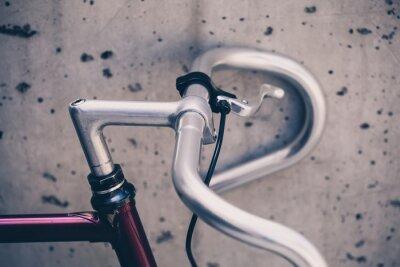 Fototapeta Miasto kierownica rowerowa drogowa zbliżenie, styl vintage