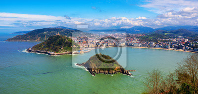 Fototapeta Miasto San Sebastian, Hiszpania, widok na zatokę La Concha i Ocean Atlantycki