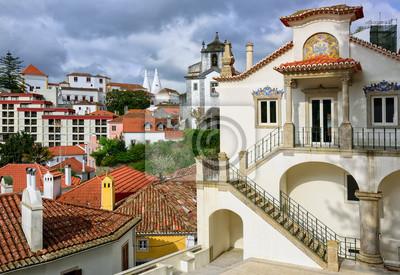 Fototapeta miasto Sintra, Portugalia, Narodowy Pałac w tle
