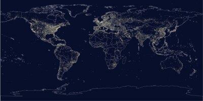 Fototapeta Miasto Ziemi świeci mapę polityczną