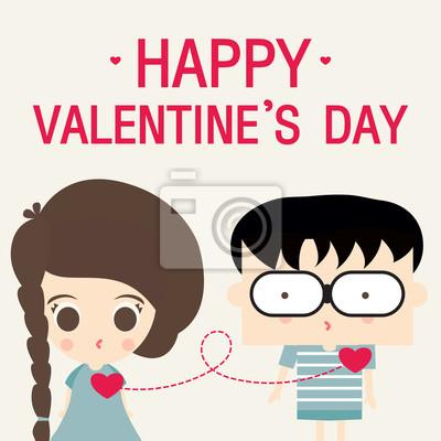 Fototapeta miłość szczęśliwy Walentynki wektor cartoon Link