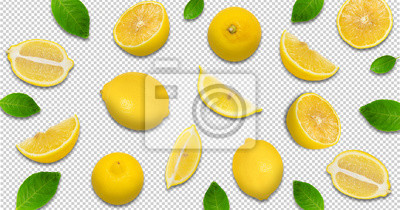 Fototapeta Minimal pastel style creative layout made of lemon and leaves , half of lemon , slide, piece. flat lay. Fruit concept.isolated with clipping path on transparent background