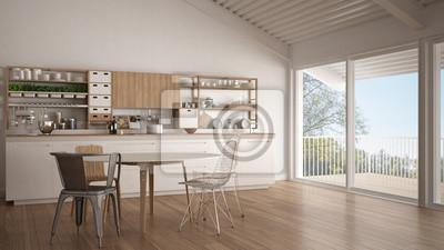 Fototapeta Minimalistyczna Biała Drewniana Kuchnia Duże Okno Panoramiczne