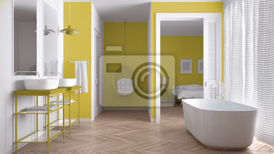 Fototapeta Minimalistyczna Biała I żółta Skandynawska łazienka Z Sypialnią