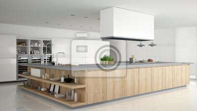 Fototapeta Minimalistyczna Biała Kuchnia Z Drewnianymi I Szarymi Detalami