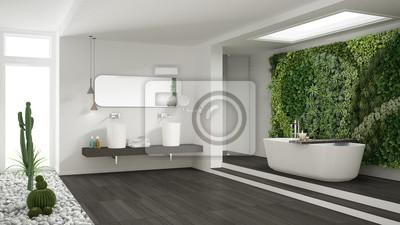 Fototapeta Minimalistyczna Biała łazienka Z Pionowym I Soczystym Ogrodem
