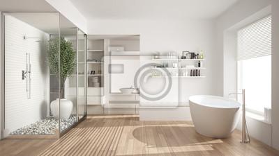 Fototapeta Minimalistyczna Biała Skandynawska łazienka Z Garderobą Klasyczny