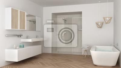 Fototapeta Minimalistyczna Jasna łazienka Z Podwójnym Umywalką Prysznicem