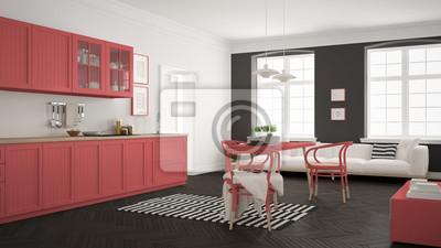 Fototapeta Minimalistyczna Nowoczesna Kuchnia Z Stołem I Salonem Biała
