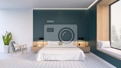 Fototapeta Minimalistyczne Wnętrze Sypialni Białe łóżko Z Fotelem Na Białym