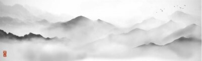 Fototapeta Misty mountains with gentle slopes and flock of birds in the sky. Traditional oriental ink painting sumi-e, u-sin, go-hua.