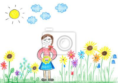 Młoda Dziewczyna Z Kolorowych Kwiaty Na łące Rysunek Odręczny Fototapeta Fototapety Wieniec Kredki Córka Myloview Pl